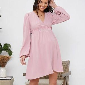MATERNITY pink ruffle v neck bishop sleeve dress